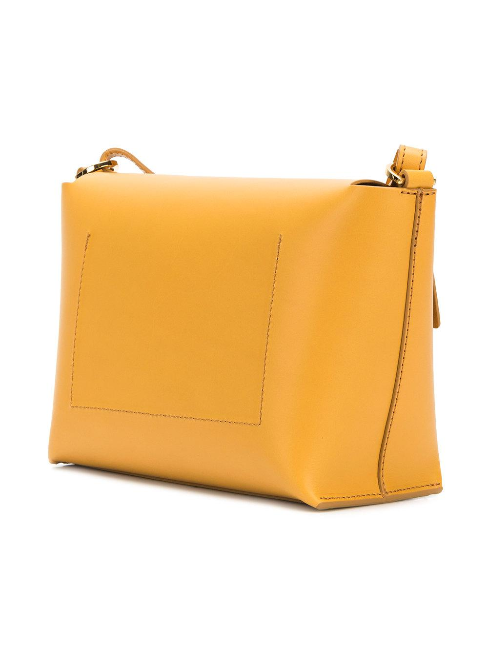 Sophie Hulme Leather Pinch Cross Body Bag in Yellow & Orange (Orange)
