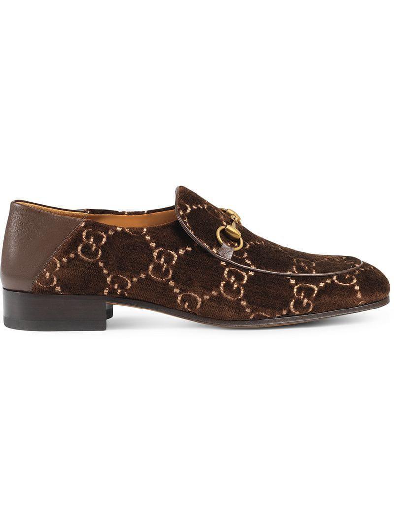 da9be90f4f978 Lyst - Gucci Horsebit GG Velvet Loafer in Brown for Men