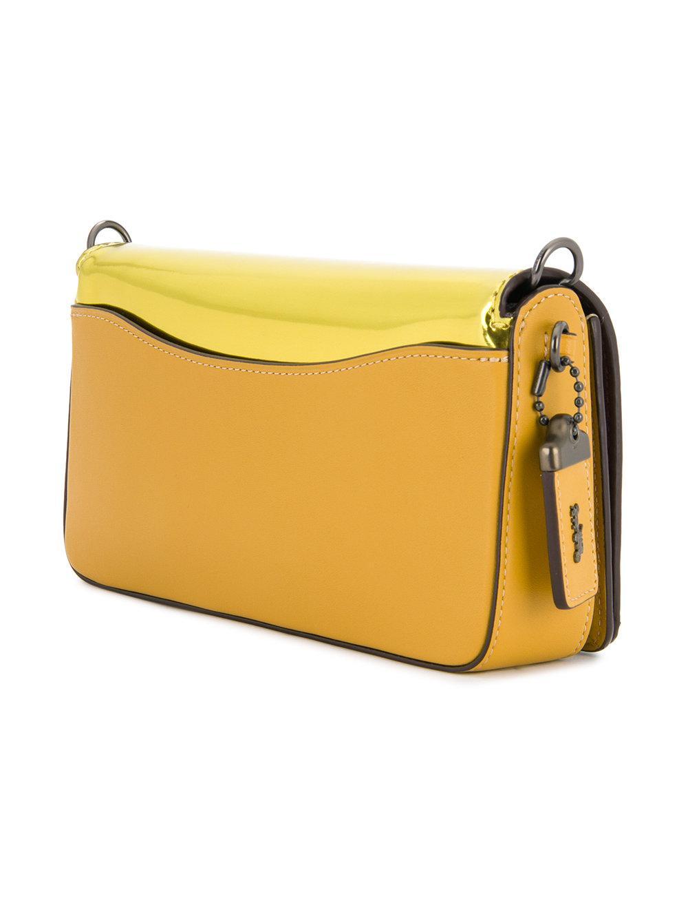 COACH Leather Dinky Crossbody Bag in Yellow & Orange (Yellow)
