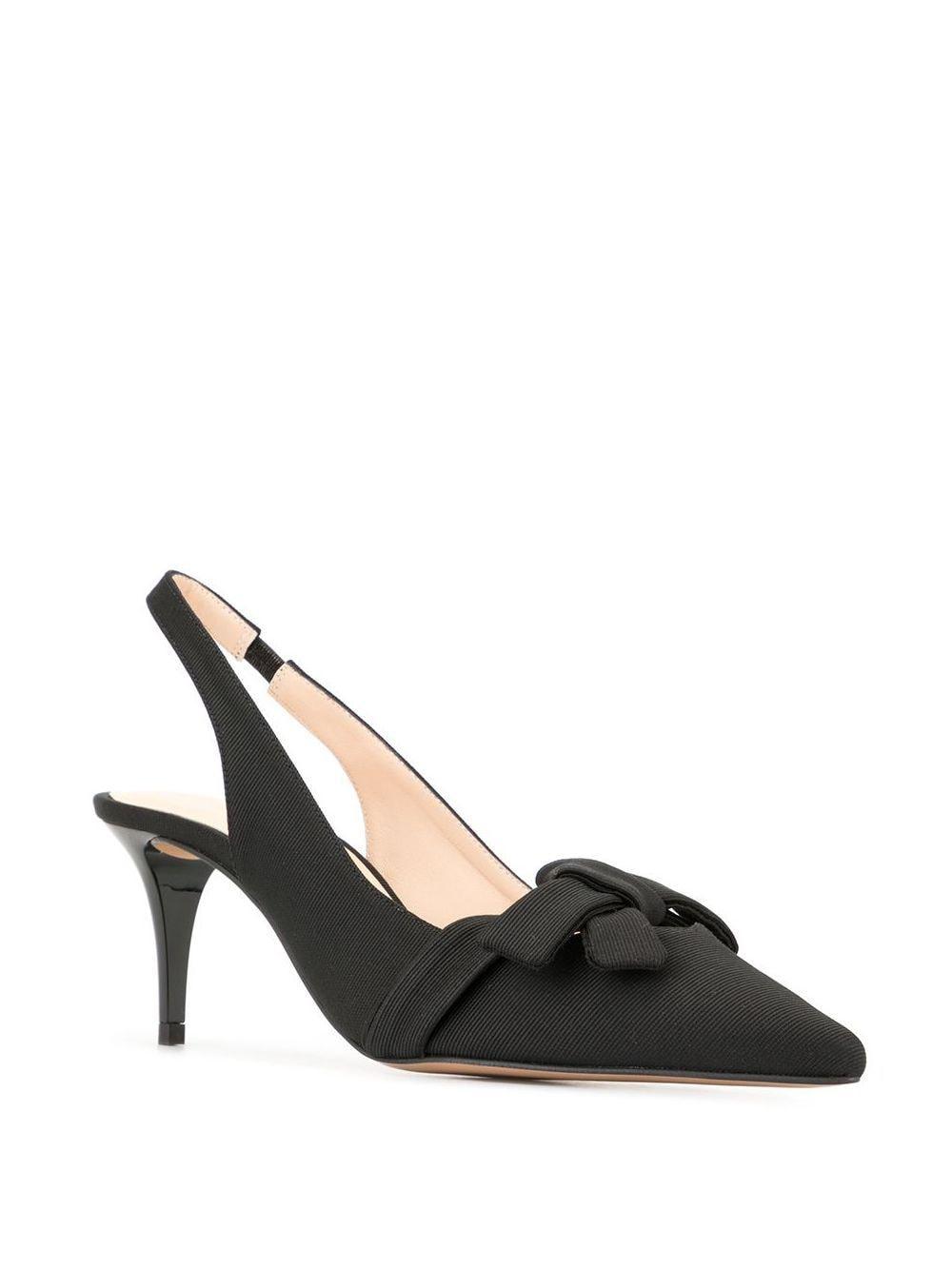 Zapatos de tacón con tira trasera y lazo Paule Ka de Tejido sintético de color Negro