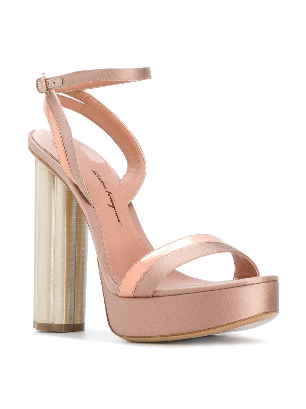 Ferragamo Flower Heel Sandals In Pink Lyst