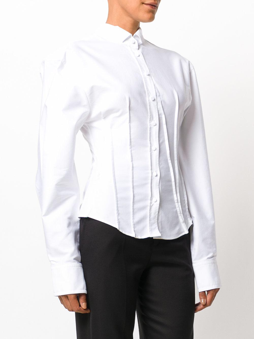 Lyst jacquemus extra slim fitted shirt in white for Best extra slim fit dress shirts