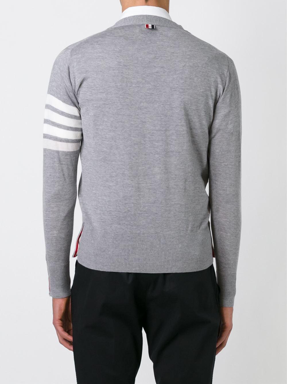 Thom Browne V-neck Cardigan With 4-bar Stripe In Light Grey Merino in het Grijs voor heren