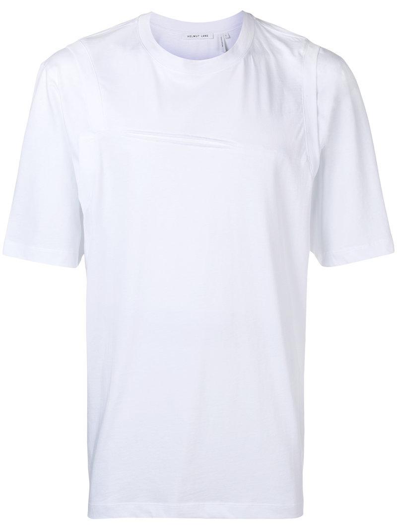4b11128a75f Helmut Lang Slash Detail T-shirt in White for Men - Lyst