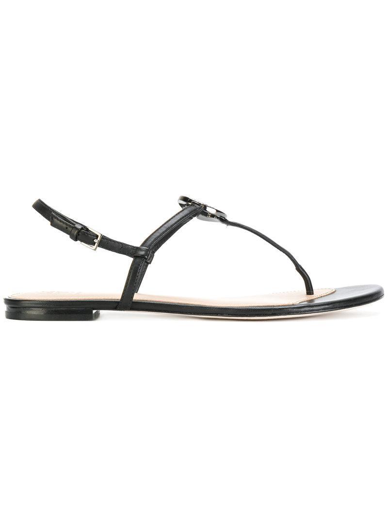 859d2d560a2c Tory Burch Liana Flat Sandals in Black - Lyst