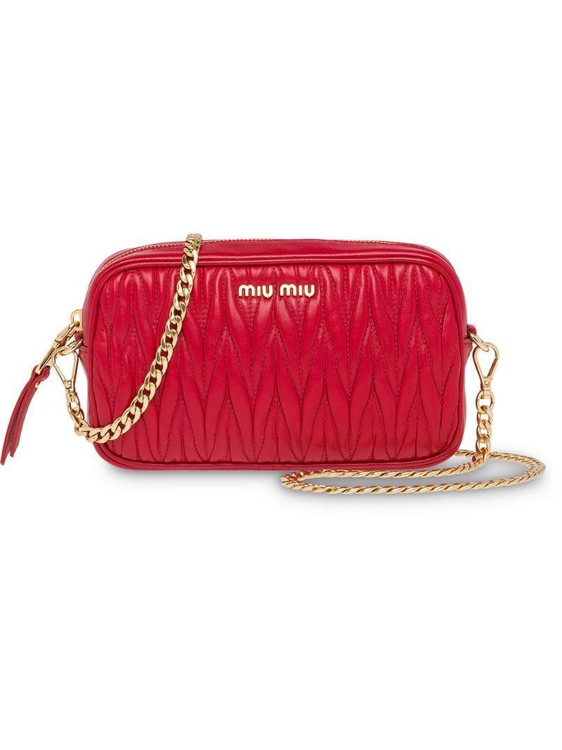 d0dda97dae5e Miu Miu Matelassé Leather Belt Bag in Red - Lyst