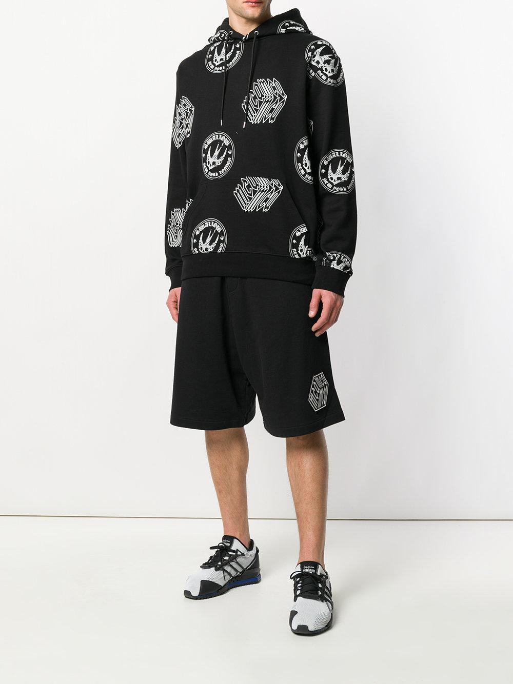 McQ Cotton Logo Patch Track Shorts in Black for Men
