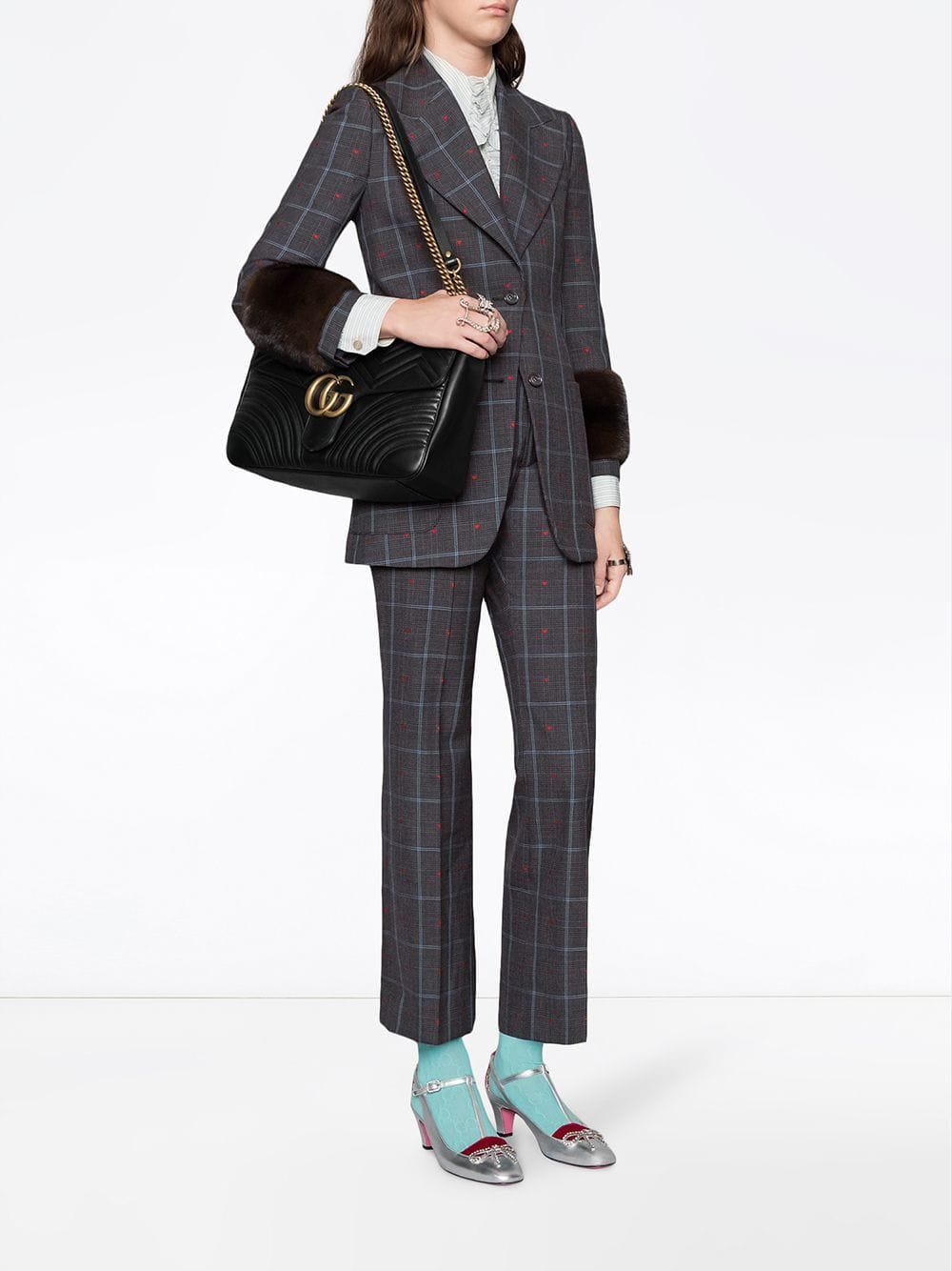 1edcf7a603af Gucci GG Marmont Large Shoulder Bag in Black - Lyst