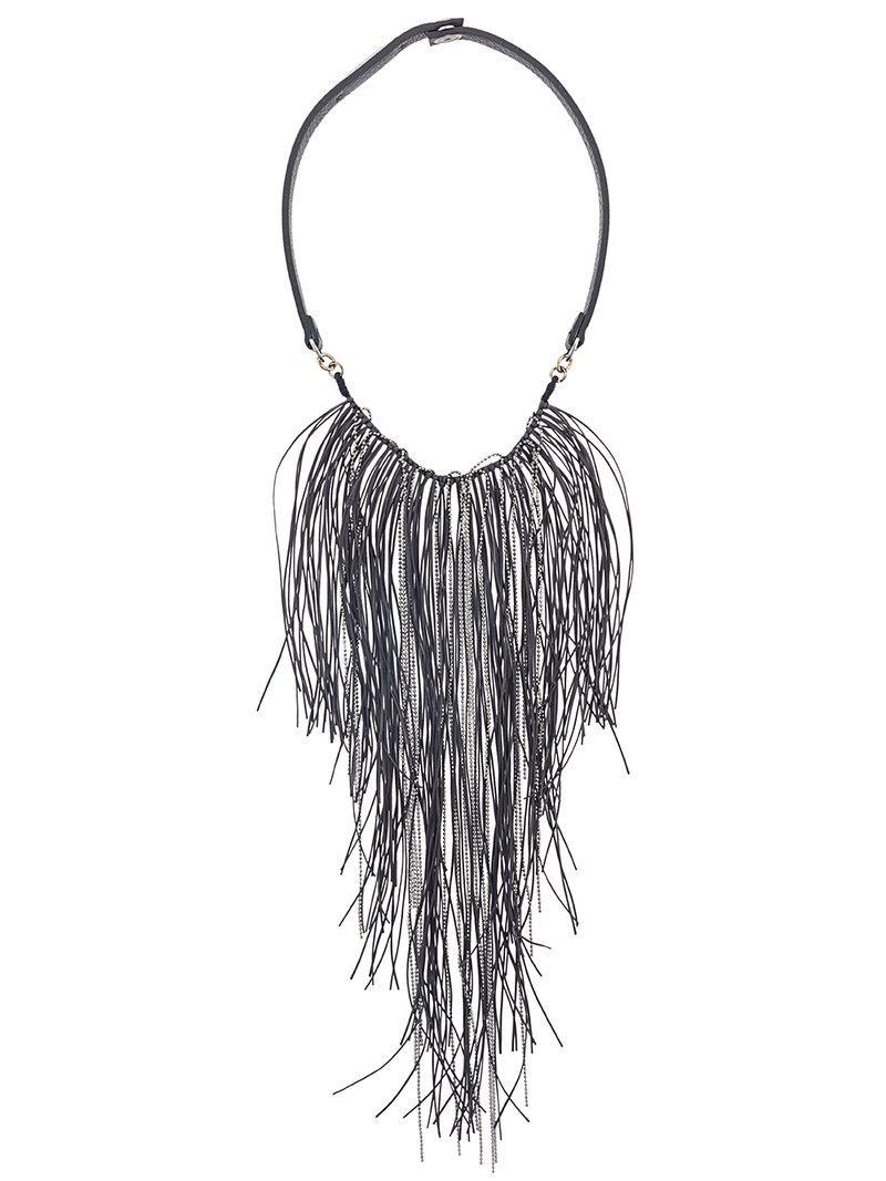 Fabiana Filippi feather embellished fringed necklace - Grey cJjd1T9P95