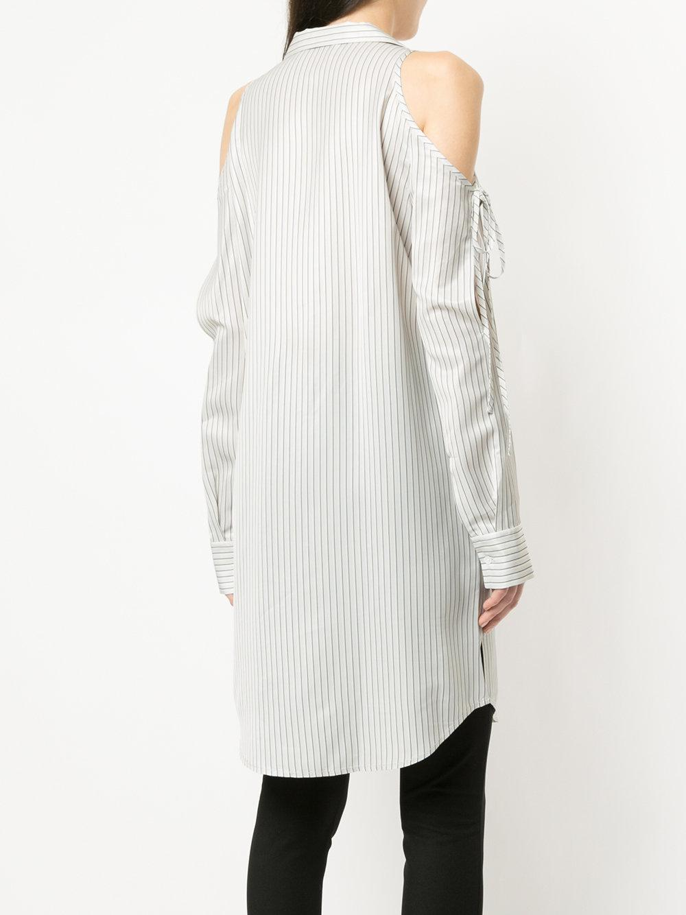 cold shoulder striped shirt - White Alexander Wang