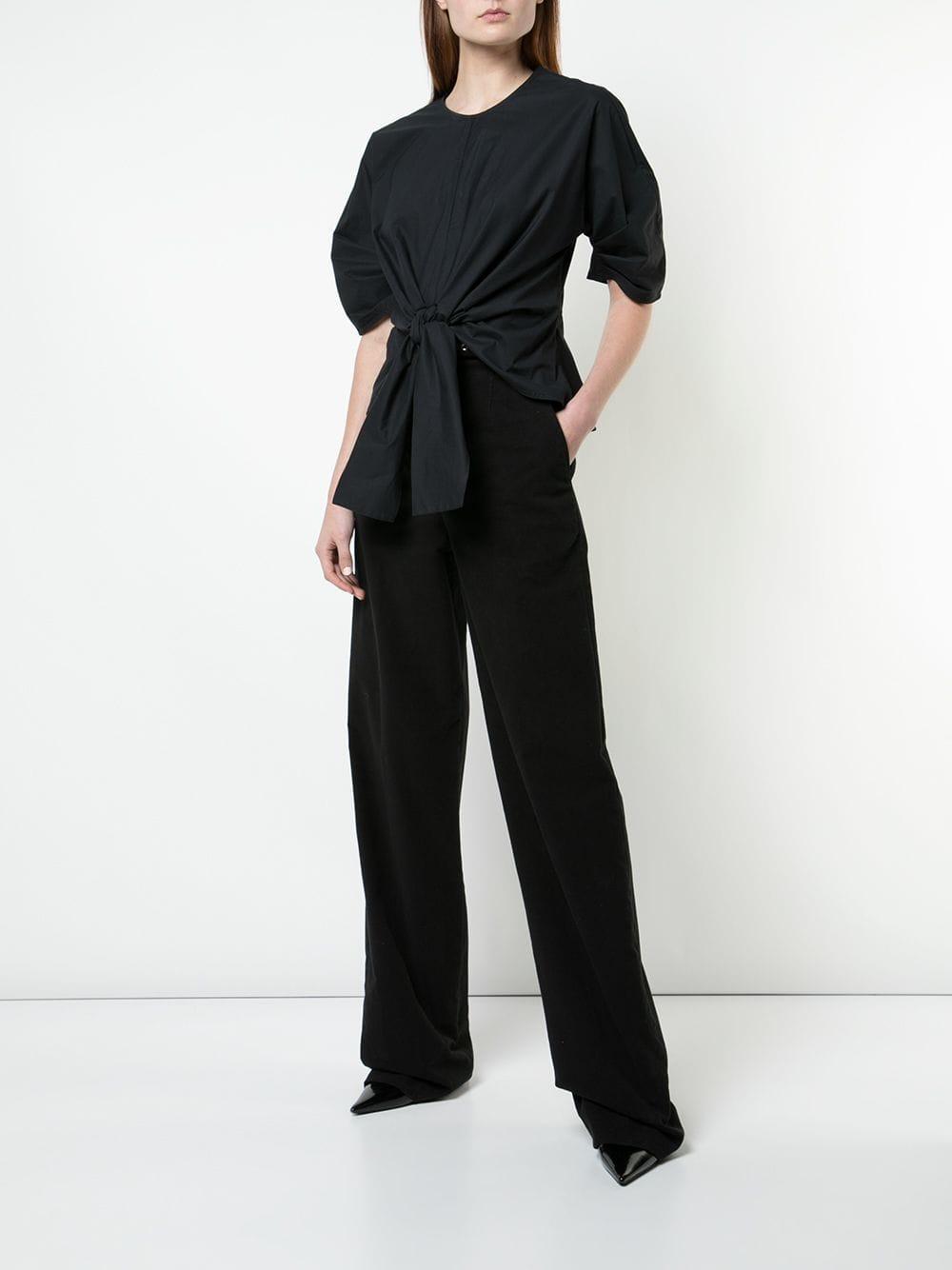 Blouse à design noué devant Coton Proenza Schouler en coloris Noir