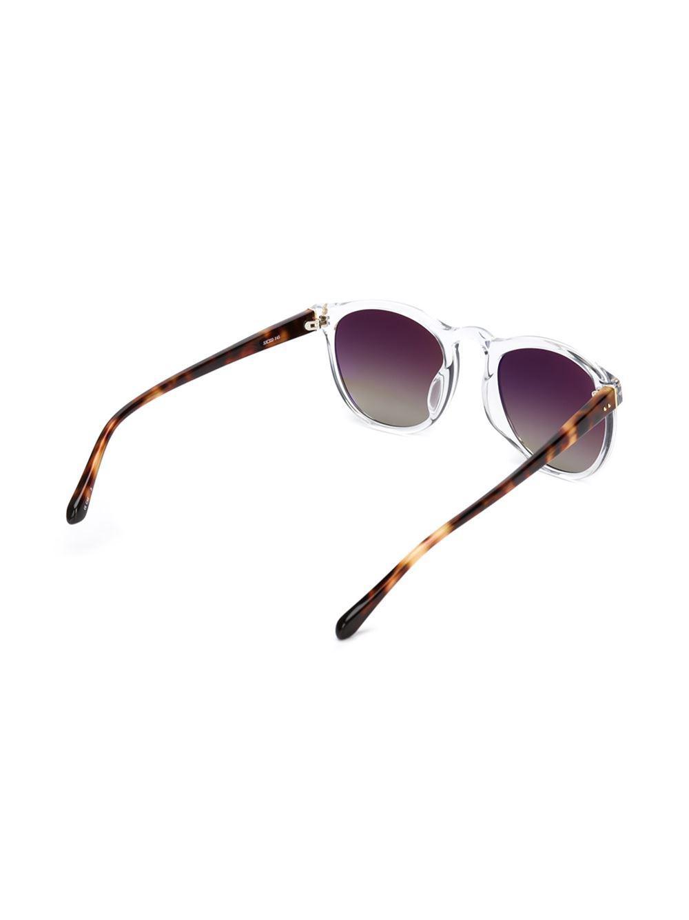 Linda Farrow Square Frames Sunglasses in White (Brown)