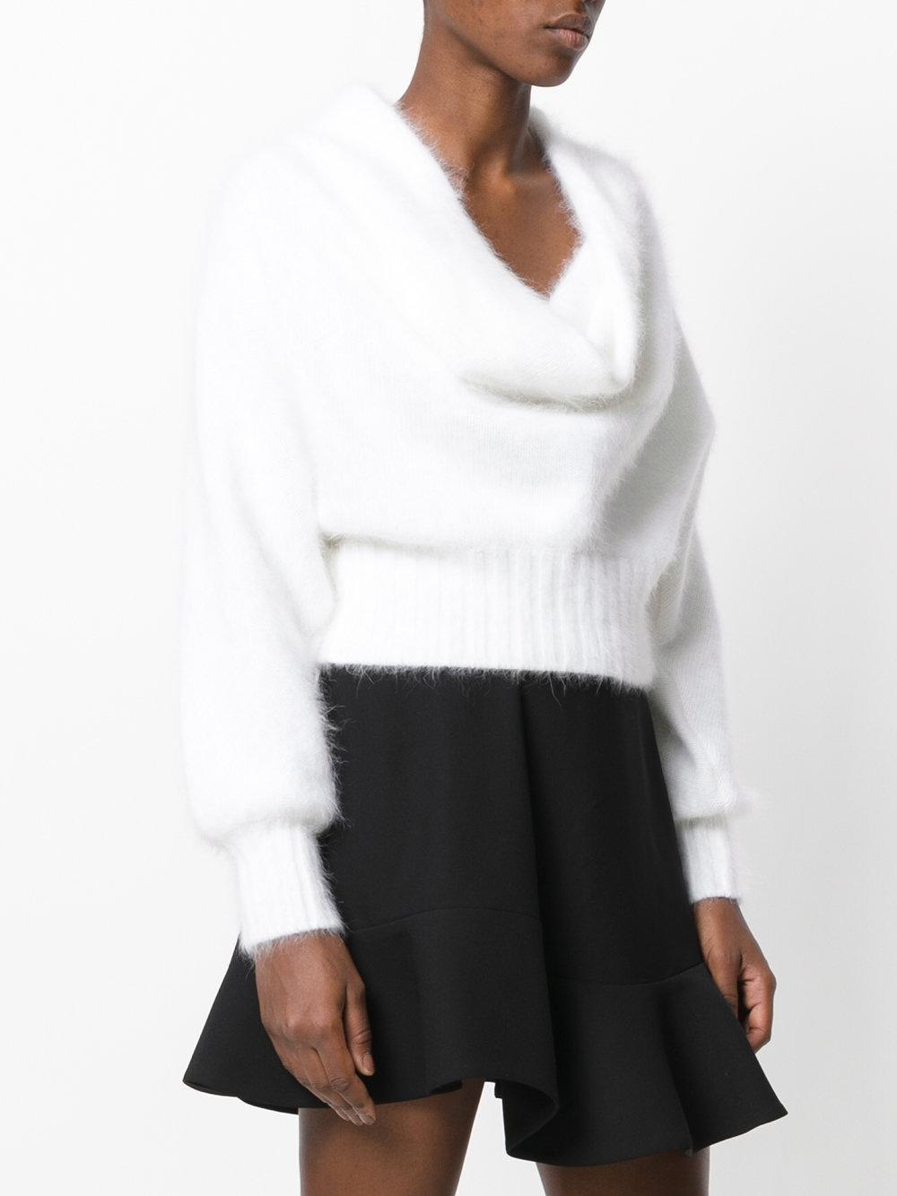 Alberta Ferretti Wool Cowl Neck Sweater In White Lyst