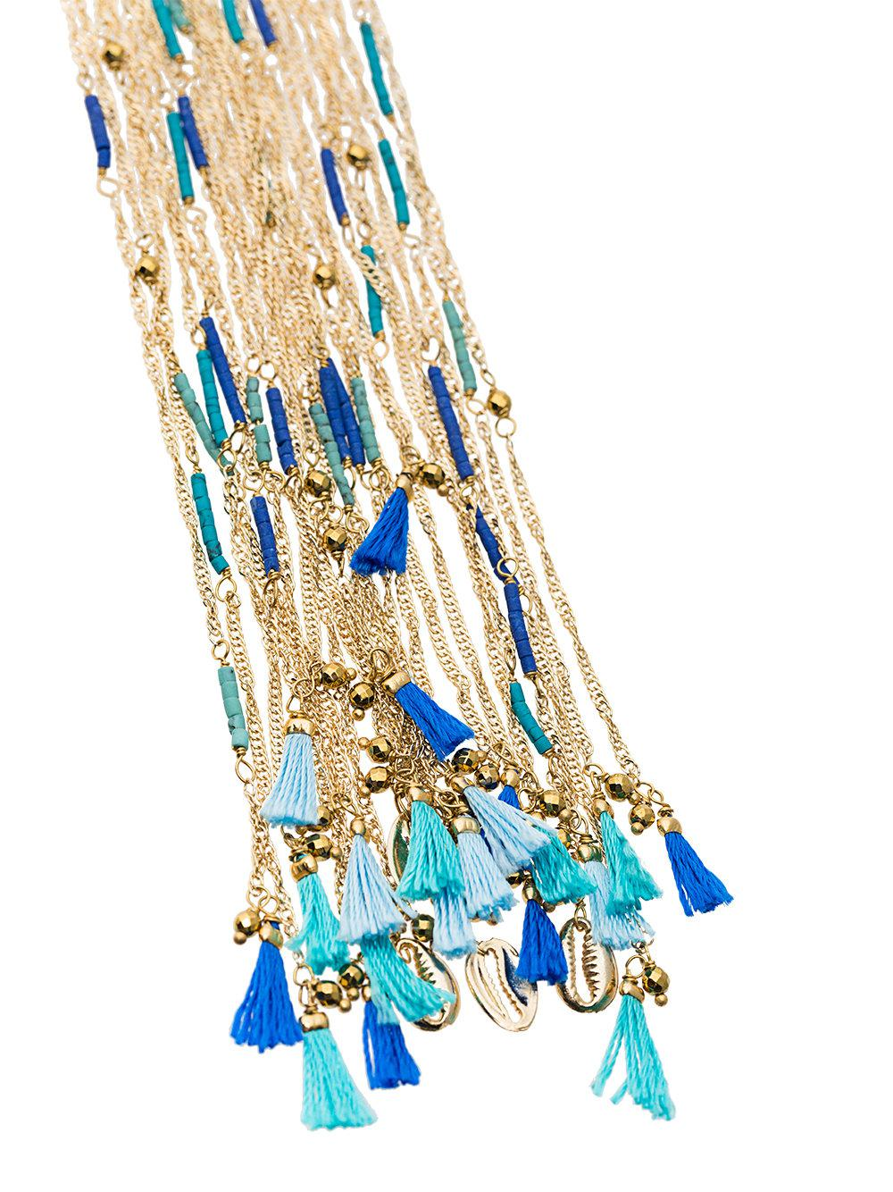 Rosantica Tortuga Necklace With Blue Beads in Gold (Metallic)