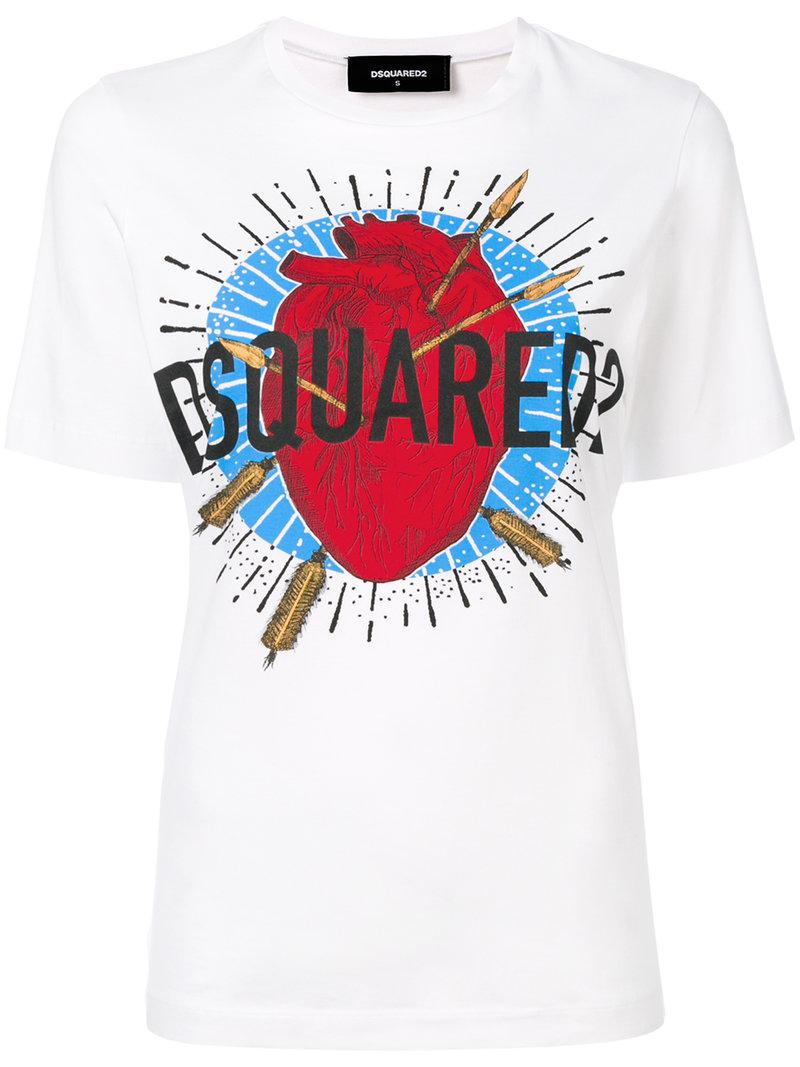 Lyst dsquared logo printed t shirt in white for Logo printed t shirts