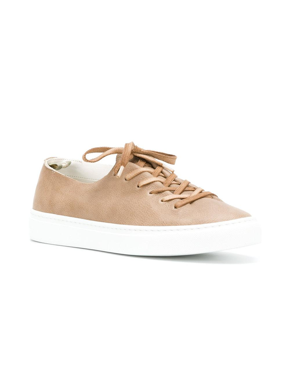 Officine Creative Leather Low Top Sneakers in Brown
