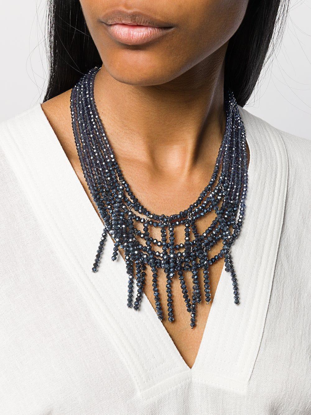 Collier multi-rangs à détails de perles Cuir Peserico en coloris Bleu dAom