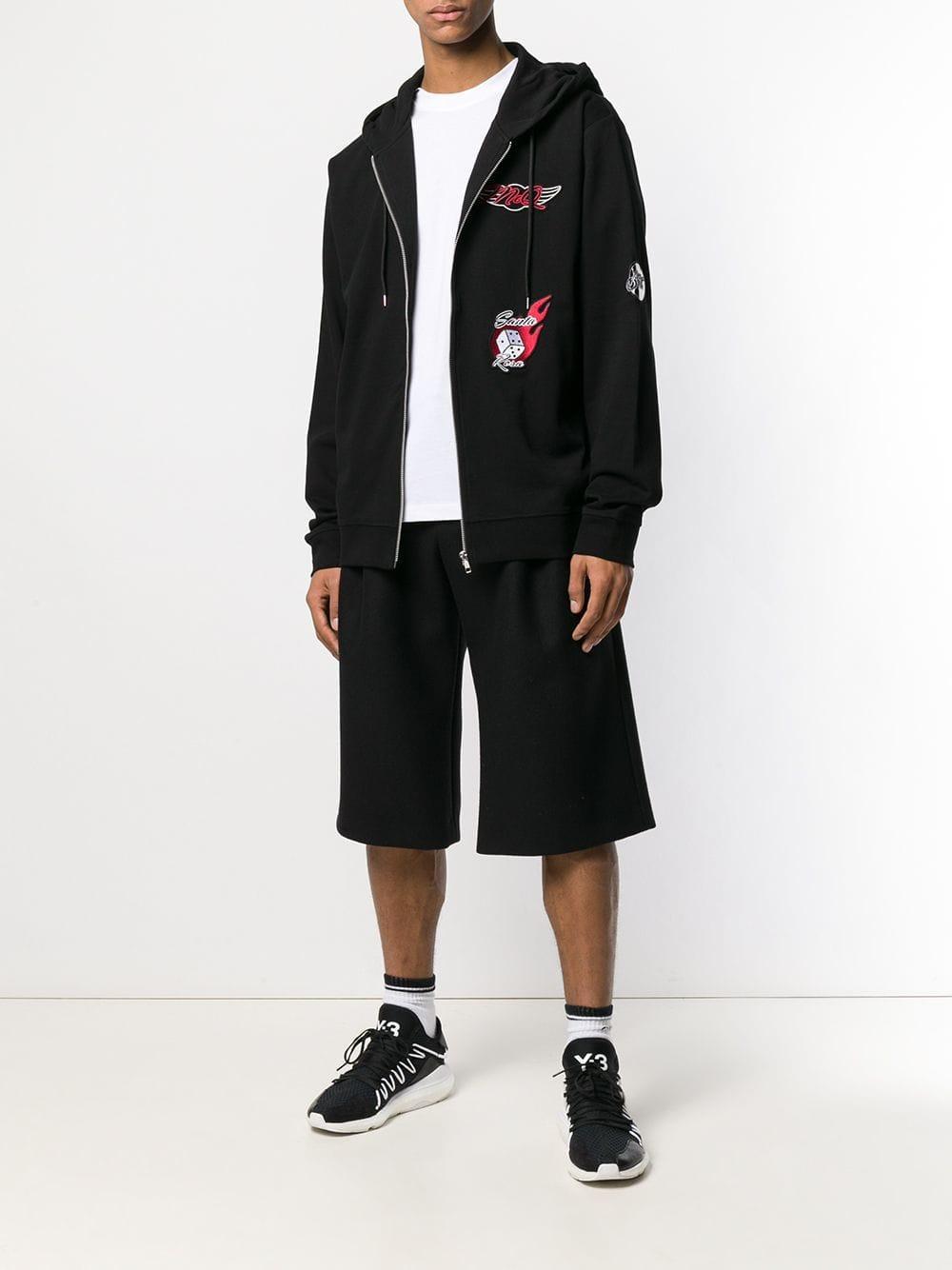 McQ Katoen Patchwork Zipped Hoodie in het Zwart voor heren