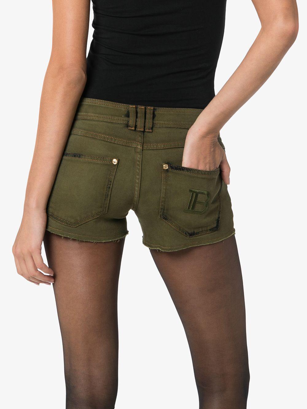 Pantalones vaqueros cortos con efecto envejecido Balmain de color Verde
