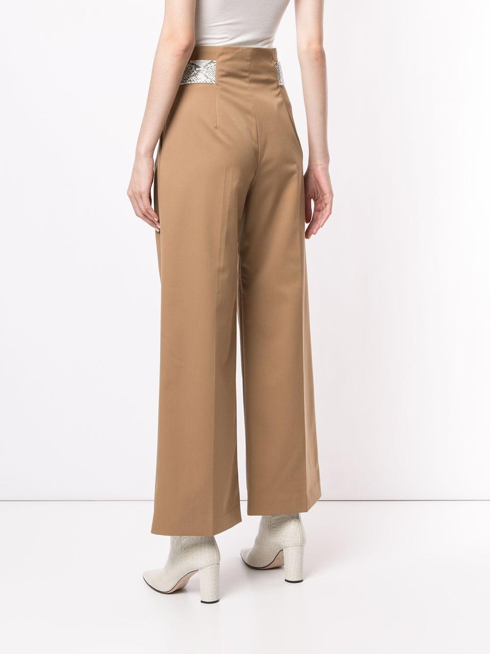 Pantalon ample à détails à effet peau de serpent Laines Comme Moi en coloris Marron