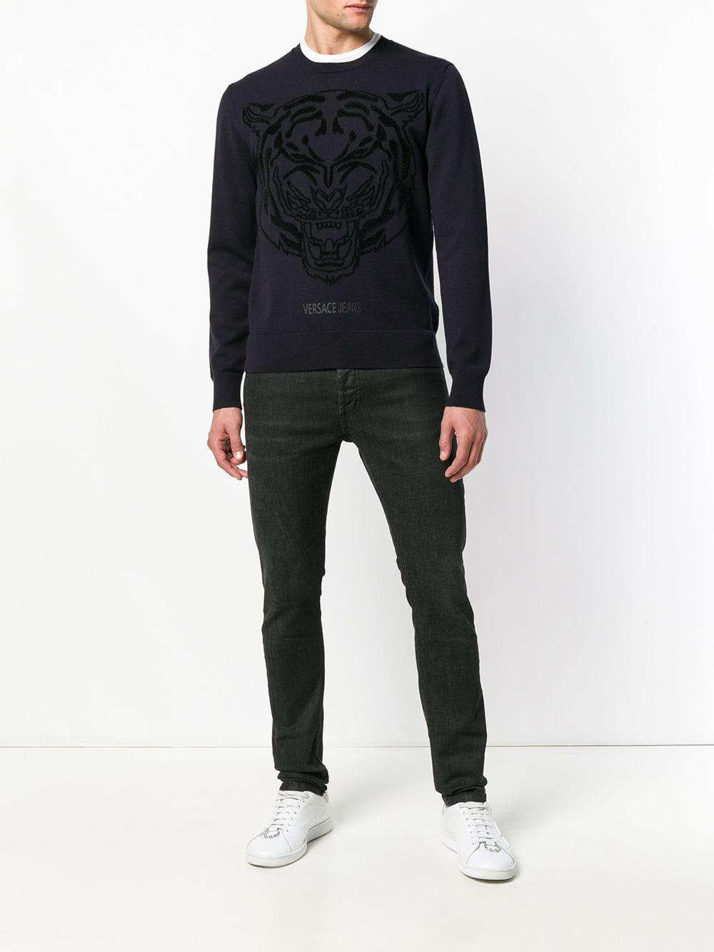 Versace Jeans Couture Denim Logo Printed Crew Neck Sweater in Blue for Men