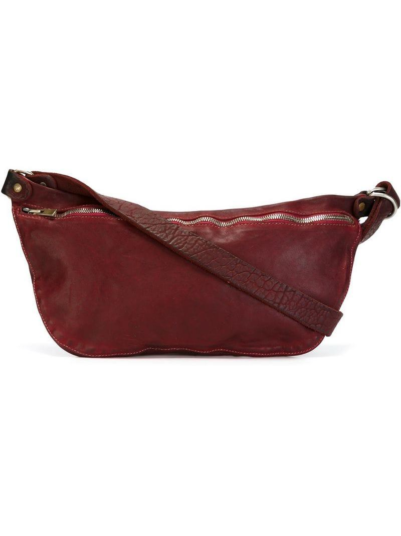 76469bc303 Lyst - Guidi Top Zip Shoulder Bag in Red for Men