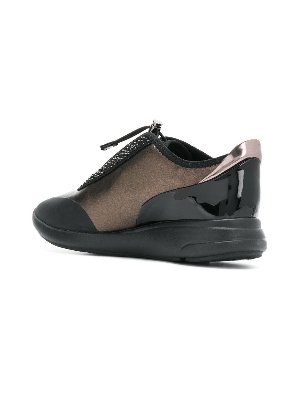 Geox Synthetic Embellished Sneakers in Black