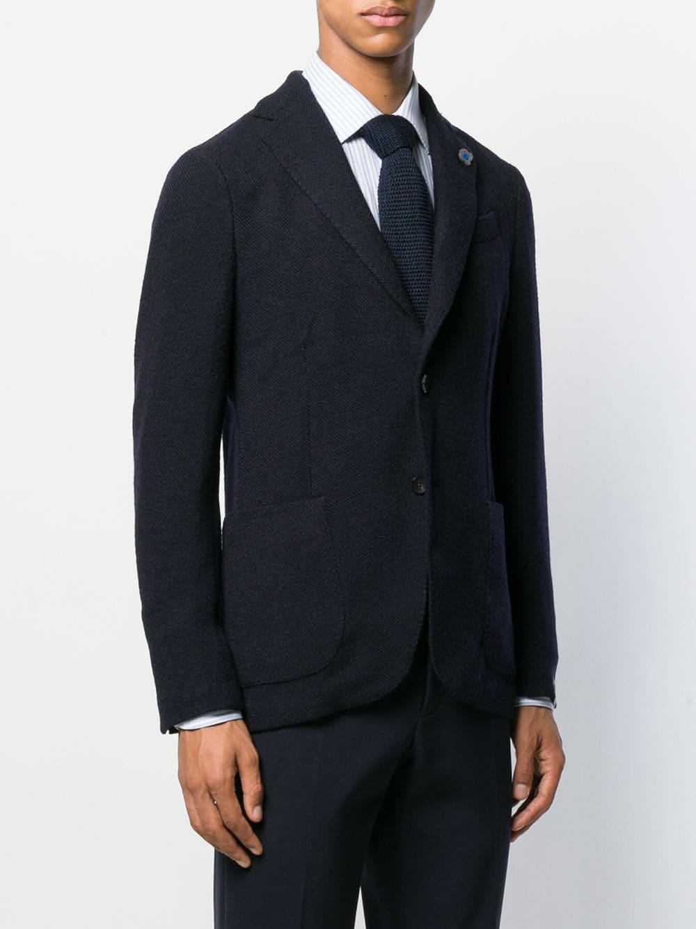 Lardini Wol Blazer Met Detail Op De Revers in het Blauw voor heren