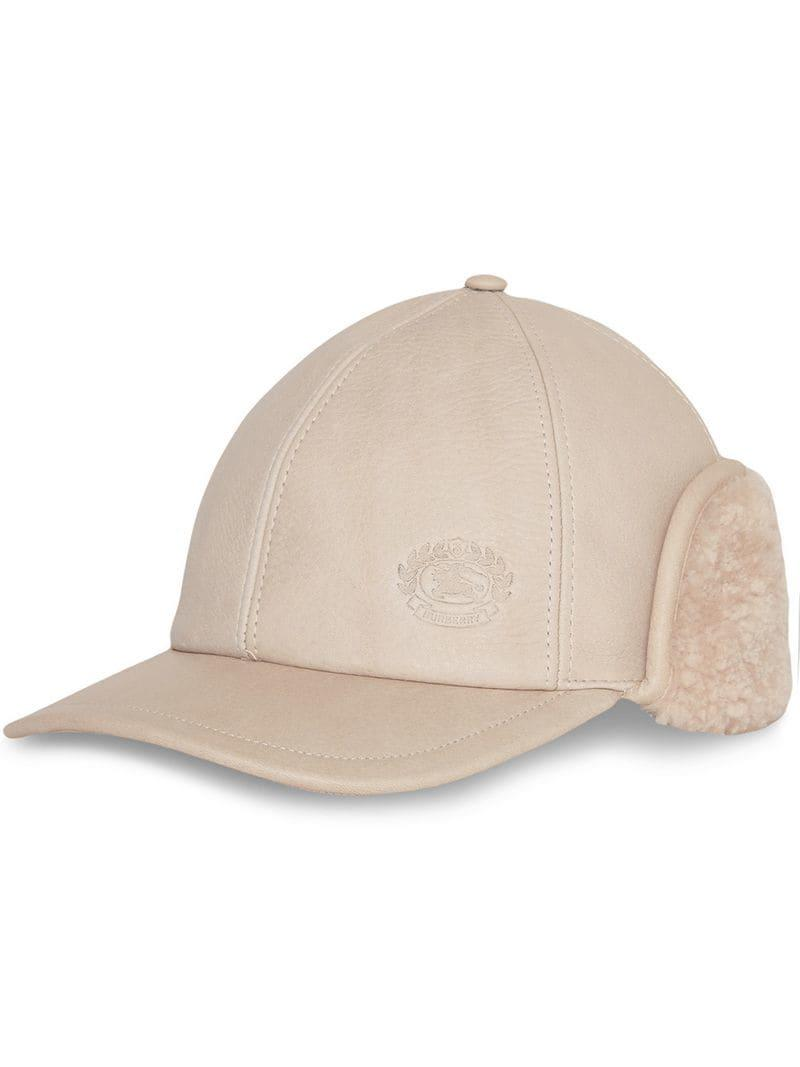 Burberry Leather And Shearling Cap in Natural - Lyst 134b346087d