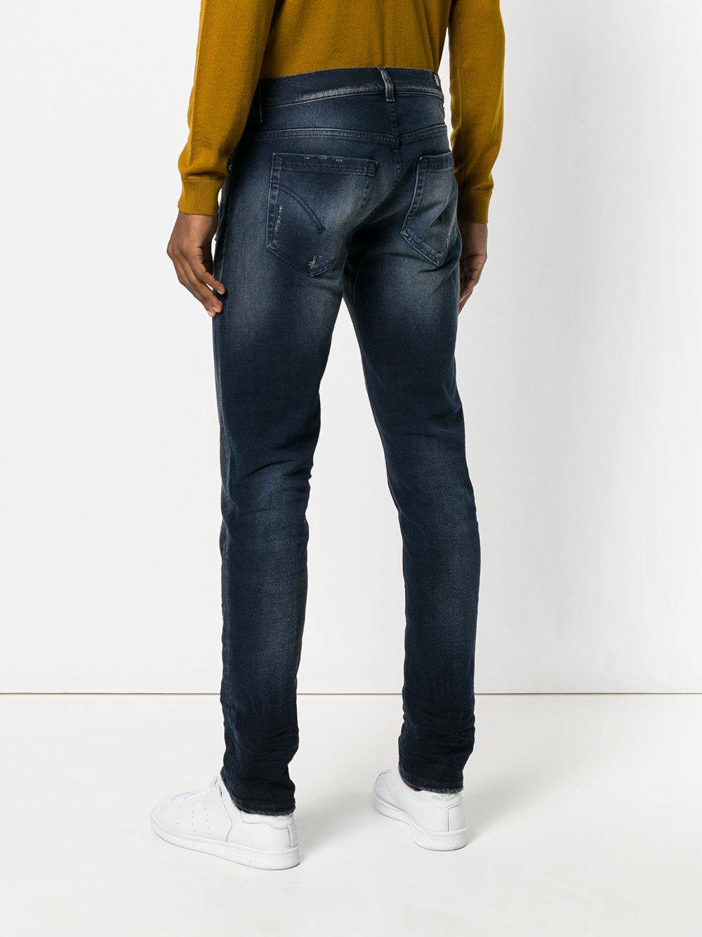 Dondup Denim Distressed Straight Leg Jeans in Blue for Men