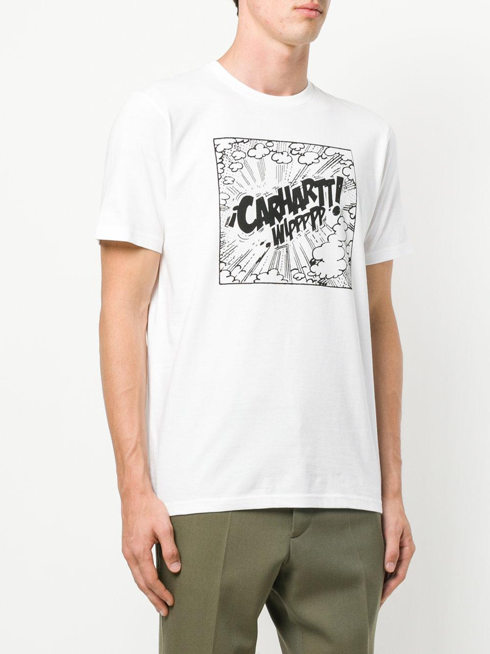 Lyst carhartt logo print t shirt in white for men for Carhartt burgundy t shirt