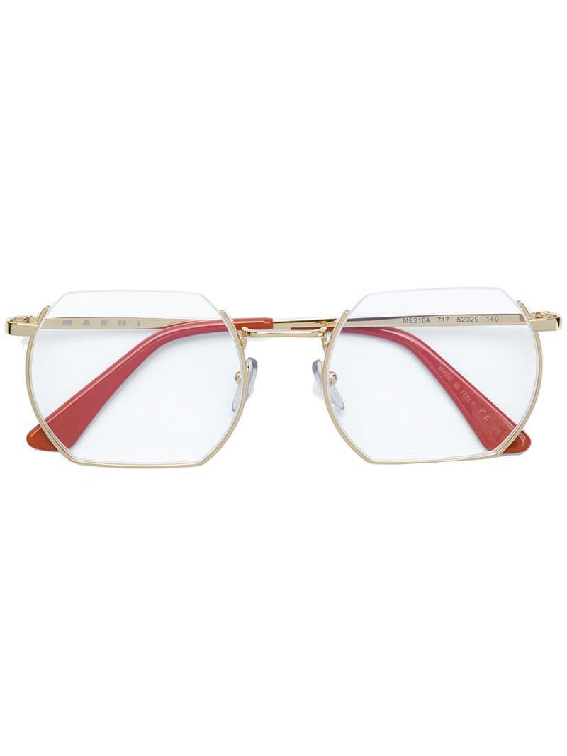 49a4ba74ba0 Lyst - Marni Eyewear Square Shaped Glasses in Metallic