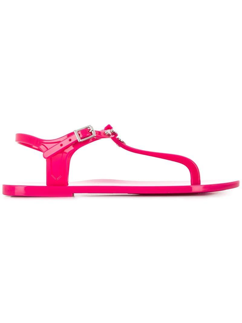 589c97326627 Lyst - Love Moschino Heart Thong-strap Sandals in Pink