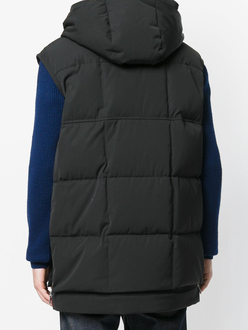 Moncler Cotton Stripe Patch Gilet in Black for Men