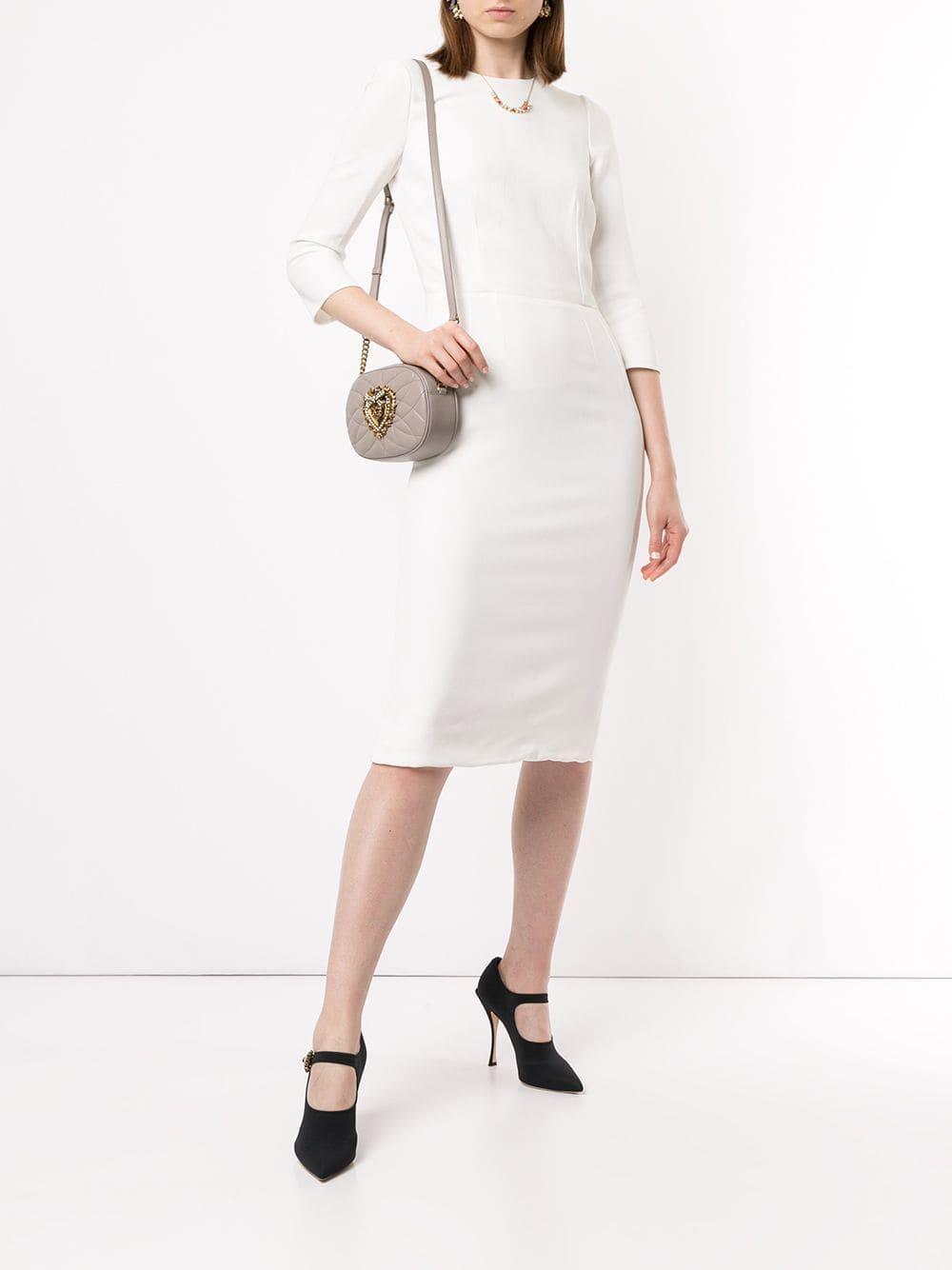 Vestido midi ajustado Dolce & Gabbana de Seda de color Blanco