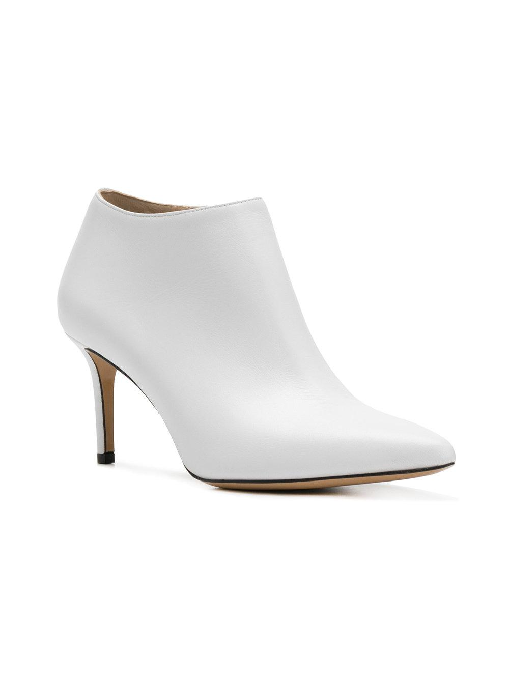 Marc Ellis Leather Pointed Toe Boots in White