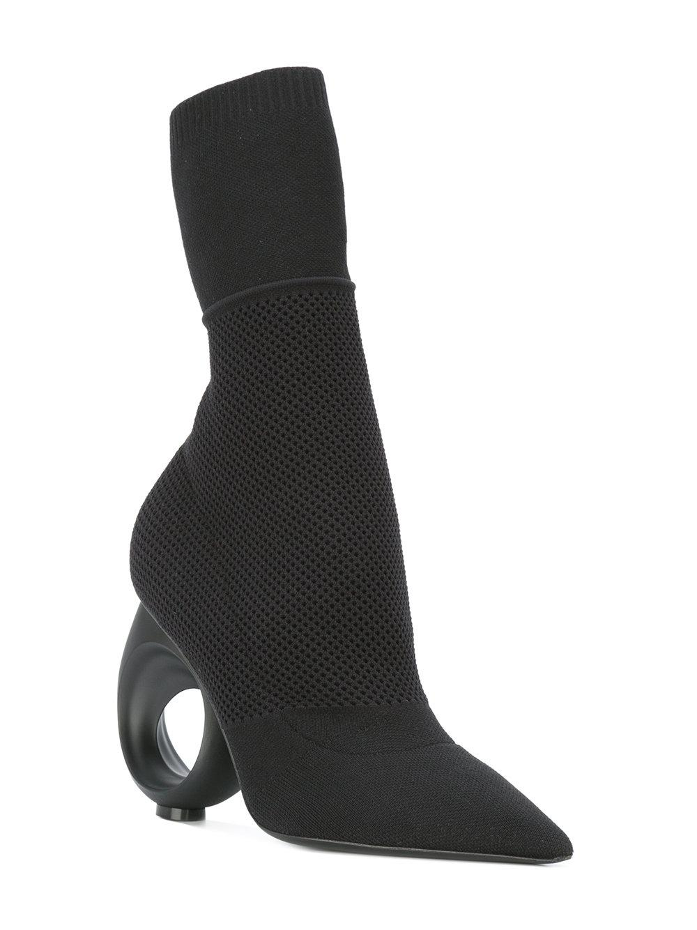 Burberry Leather Curved Heel Boots in Black