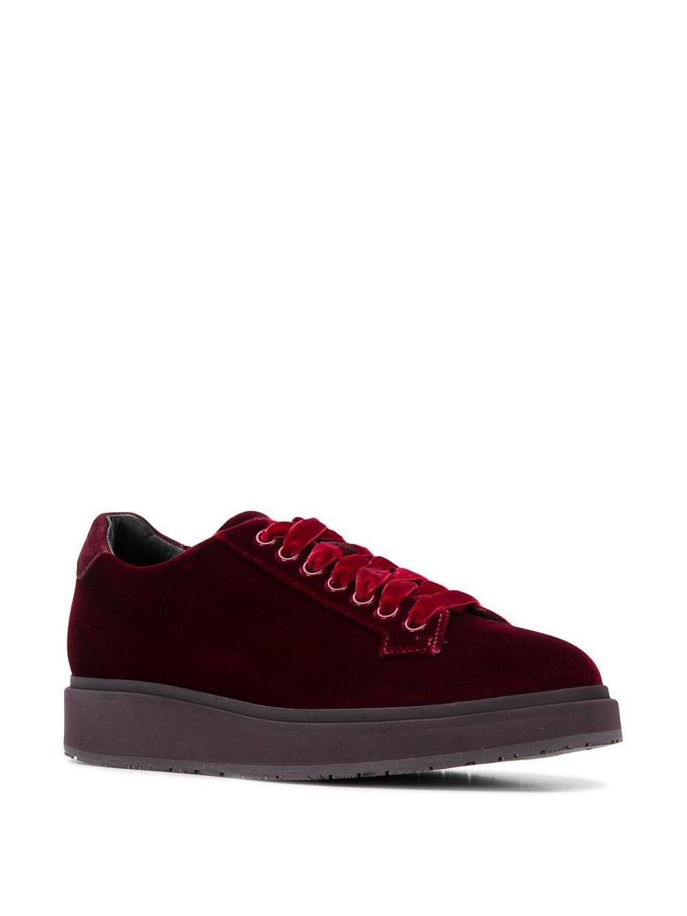 Santoni Velvet Lace-up Sneakers in Red