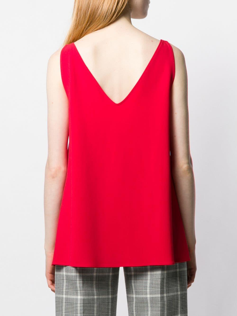 Top sin mangas con cuello en V Stella McCartney de Tejido sintético de color Rojo