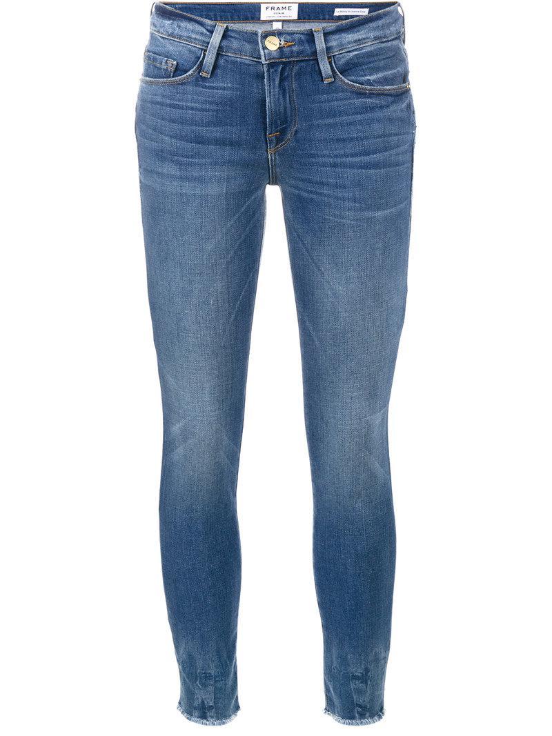 Frame Le Skinny De Jeanne Cropped Jeans In Blue Save 33