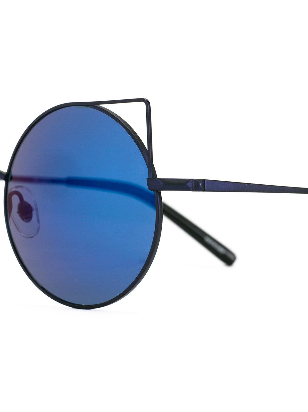 Linda Farrow Round Frame Sunglasses in Blue