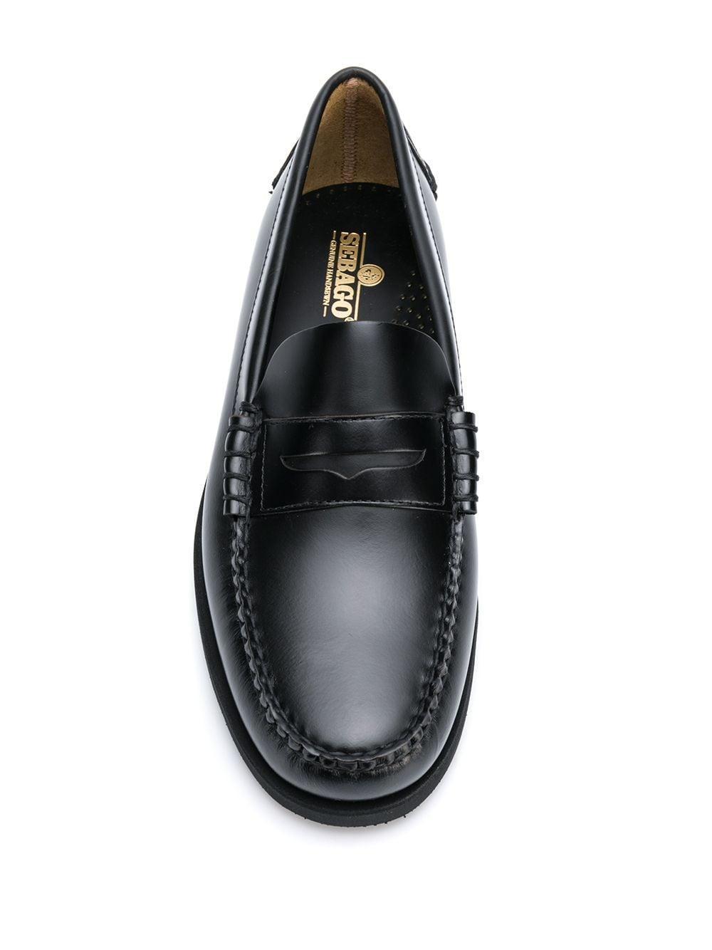 Sebago Leer Dan Gladde Loafers in het Zwart voor heren