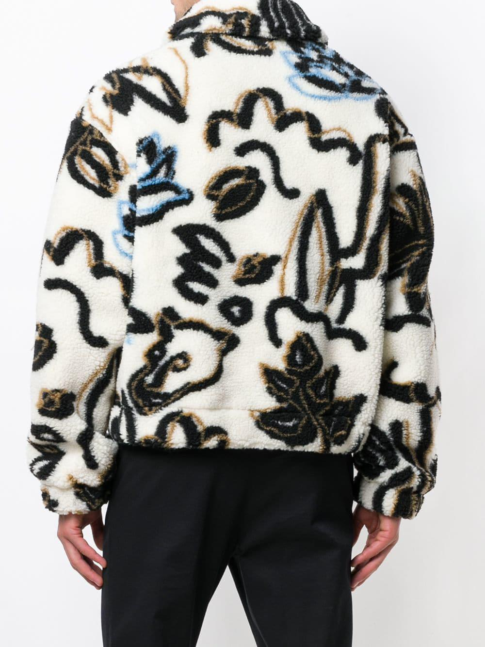 462e94d65 KENZO White Faux Fur Printed Jacket for men