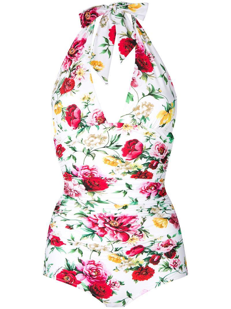 d393b615fe Lyst - Dolce   Gabbana Floral Print Halterneck Swimsuit in White