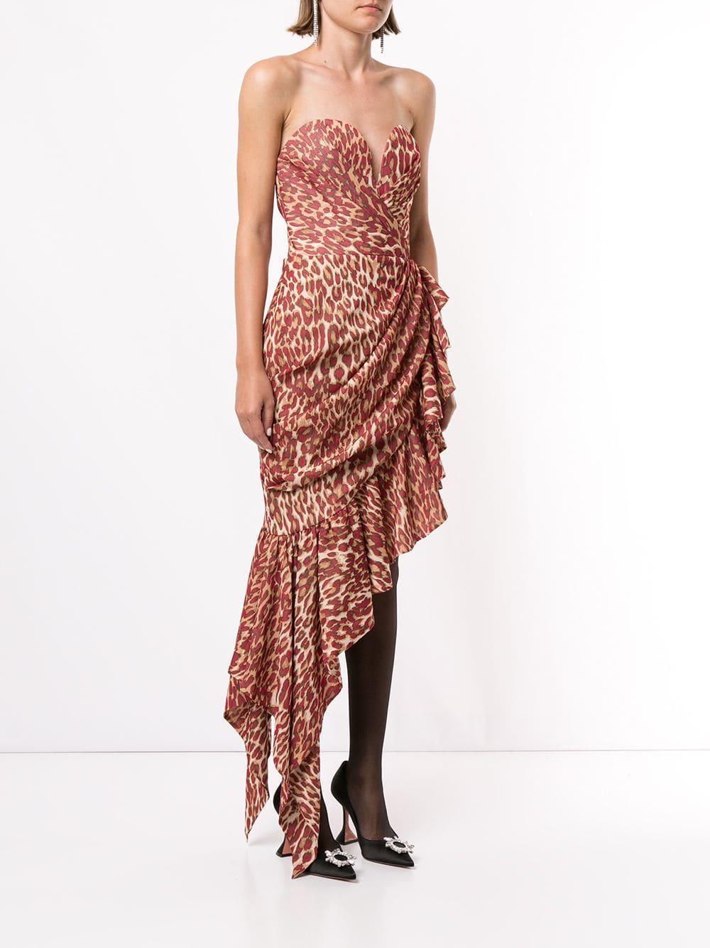 Vestido asimétrico con estampado de leopardo Rasario de Tejido sintético de color Rojo