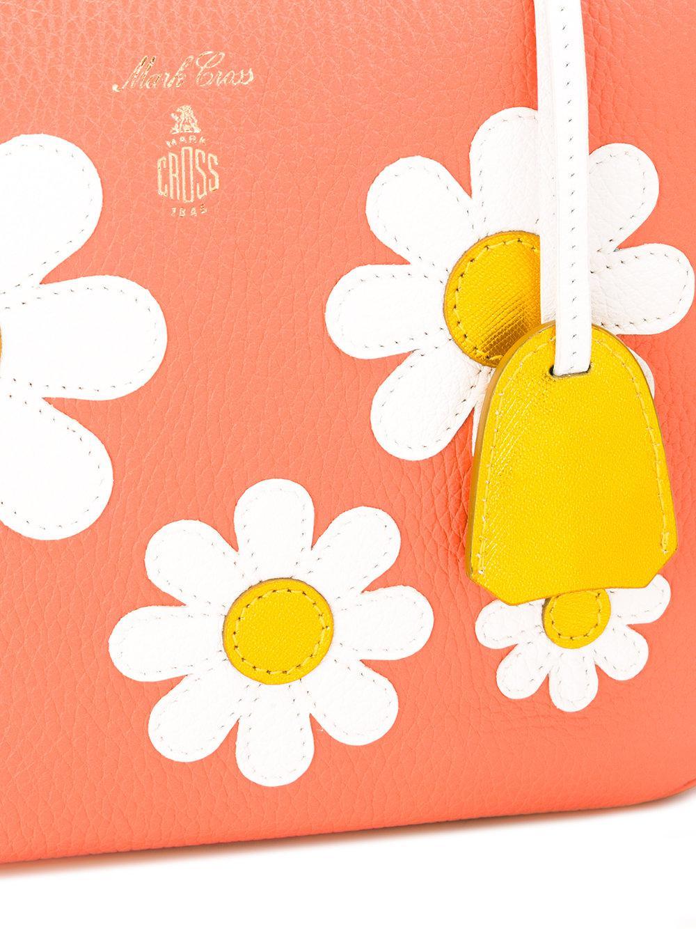 Mark Cross Leather Laura Shoulder Bag in Yellow & Orange (Orange)