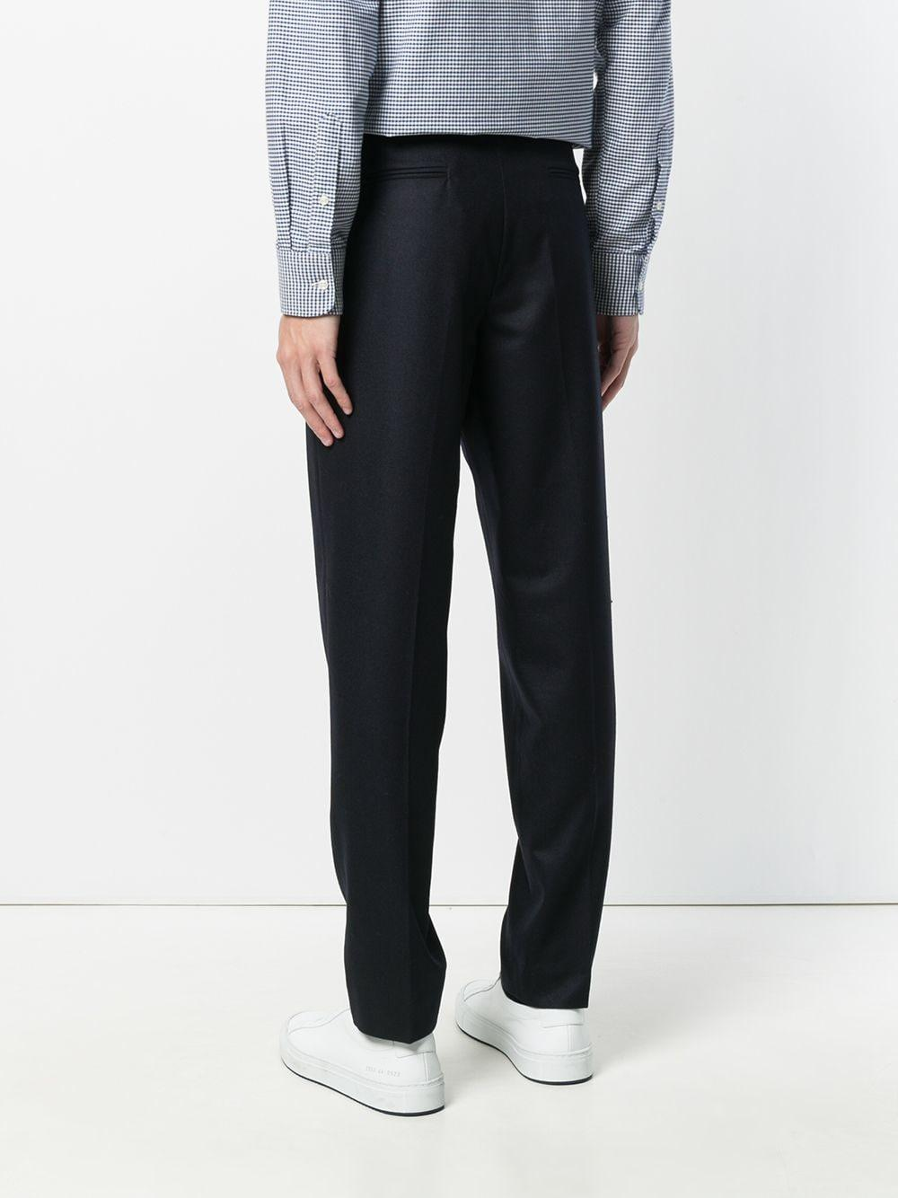 Harmony Wool Slim Fit Tailored Trousers in Blue for Men