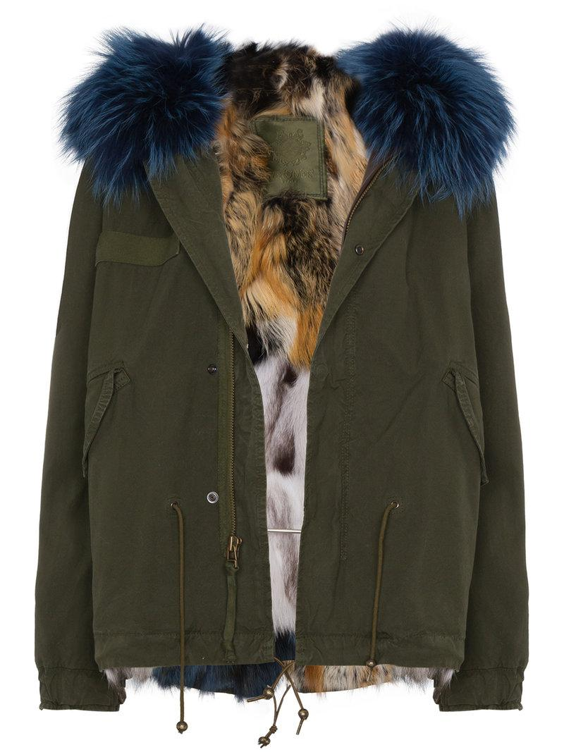 aa2a1d24571 Mr   Mrs Italy Mini Mmi Patchwork Fox Fur Lined Parka in Green - Lyst
