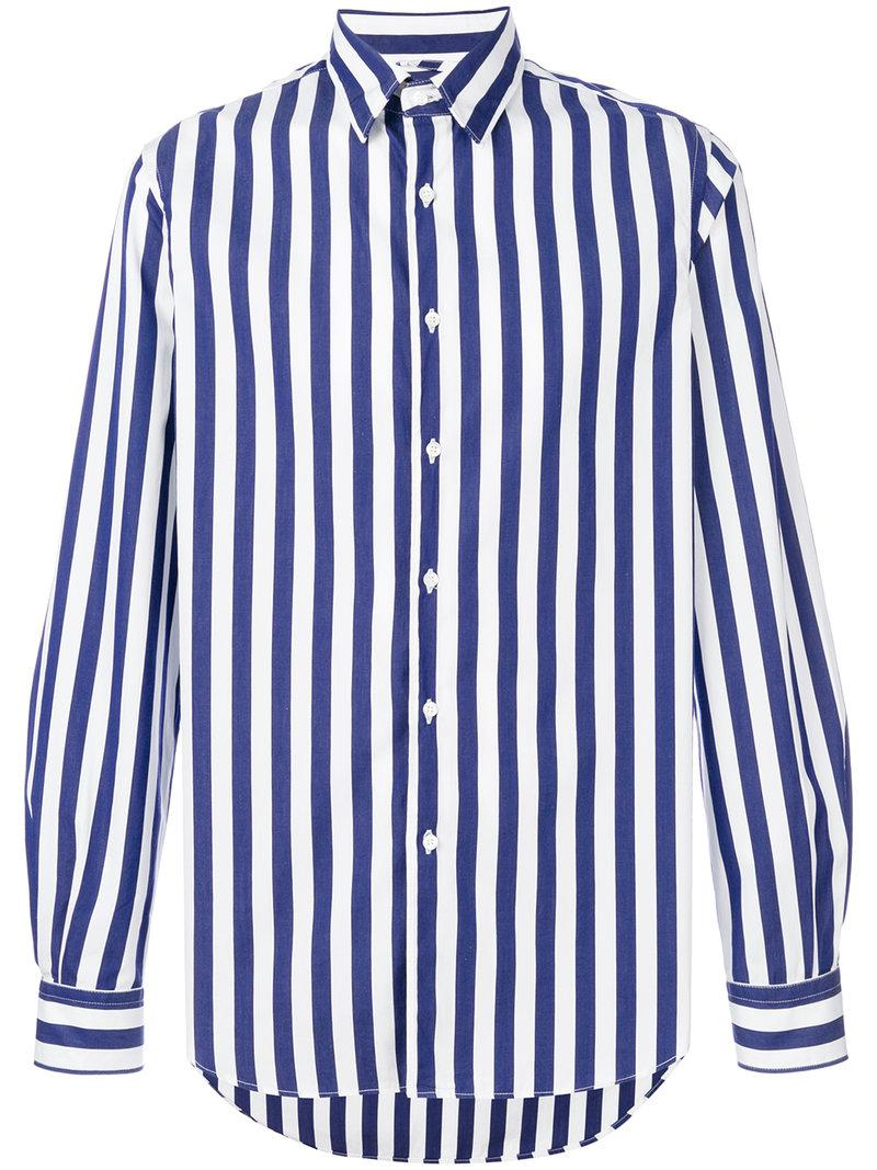 Lyst Aspesi Wide Striped Shirt In Blue For Men