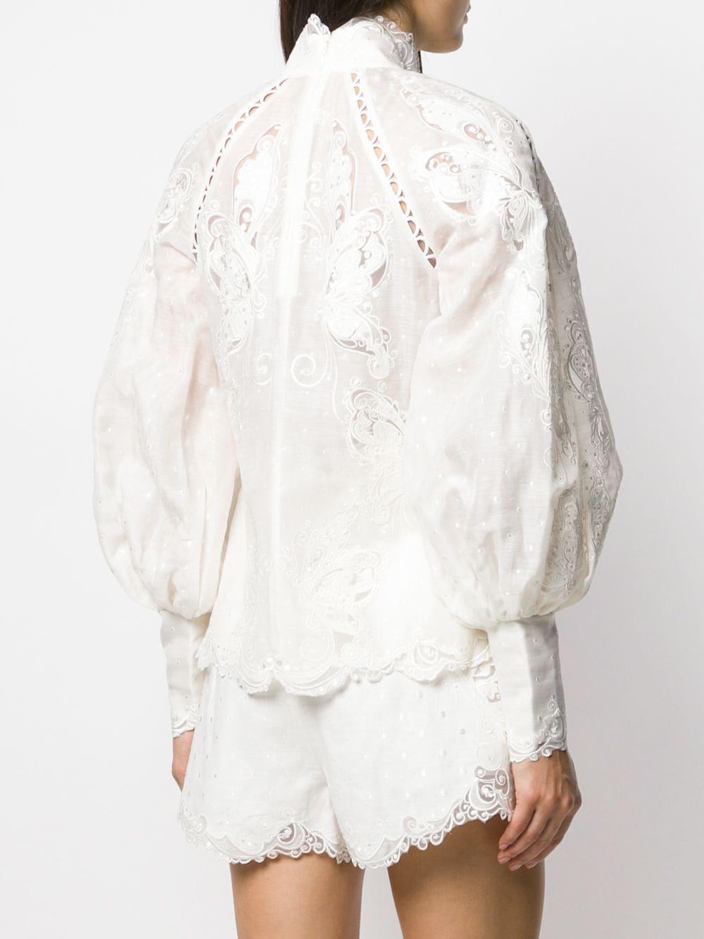 Camisa bordada Super Eight Zimmermann de Seda de color Blanco